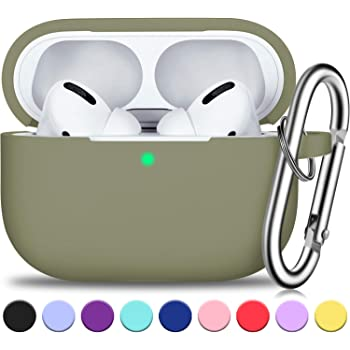 AirPods Pro Case Cover with Silver Keychain Front LED Visible-Black Full Protective Silicone AirPods Accessories Skin Cover for Women Men Girl with Apple 2019 Latest AirPods Pro Case