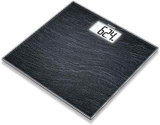 Beurer GS 203 - Pizarra - Bascula de vidrio, 150 kg / 100 gr, LCD, apagado automatico, aviso de sobrecarga, color gris