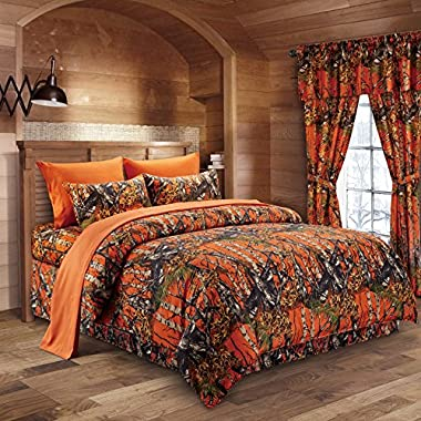 The Woods Orange Camouflage King 8pc Premium Luxury Comforter, Sheet, Pillowcases, and Bed Skirt Set by Regal Comfort Camo Bedding Set For Hunters Cabin or Rustic Lodge Teens Boys and Girls