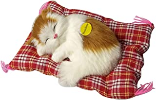 Kawaii Simulación Sleeping Cats Adornos Peluche Sounding Toy Cat Kitten Toy Home Car Decor Regalos para niños 1pc (Gato Amarillo y Blanco)