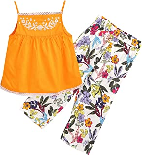 Hopscotch Girls Rayon/Viscose Sleeveless Floral Printed Pant Set in Navy Color