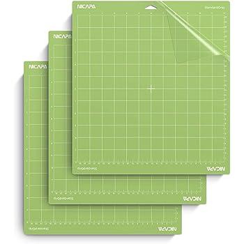 Nicapa Standard Grip Cutting Mat for Cricut Explore Air 2 Maker(12x12 inch,3 Pack) Standard Adhesive Sticky Green Quilting Cricket Replacement Cut Mats