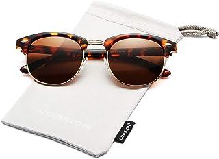 a9aff36b61e COASION Retro Semi Rimless Polarized Clubmasters Sunglasses Classic Men Women  Clear Glasses
