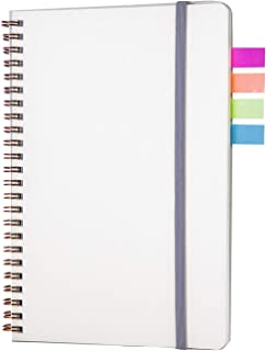 Spiral Notebook Bullet Dot Grid Journal, Elastic Band Closure + Colorful Stickers, 100gsm Thick Paper, 80 Sheets, 5.7 x 8.3 inches