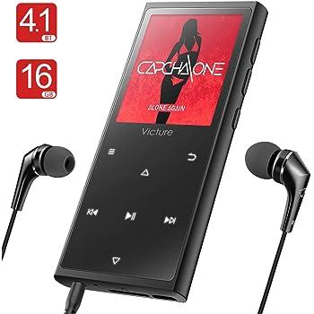 Victure Bluetooth4.1アップデート MP3プレーヤー 光るタッチボタン スピーカー内臓 FMラジオ HIFI超高音質 デジタルオーディオプレーヤー 16GB内蔵容量 最大128GBまで拡張可能 歩数計 合金制 1.8イン多彩スクリーン M5X