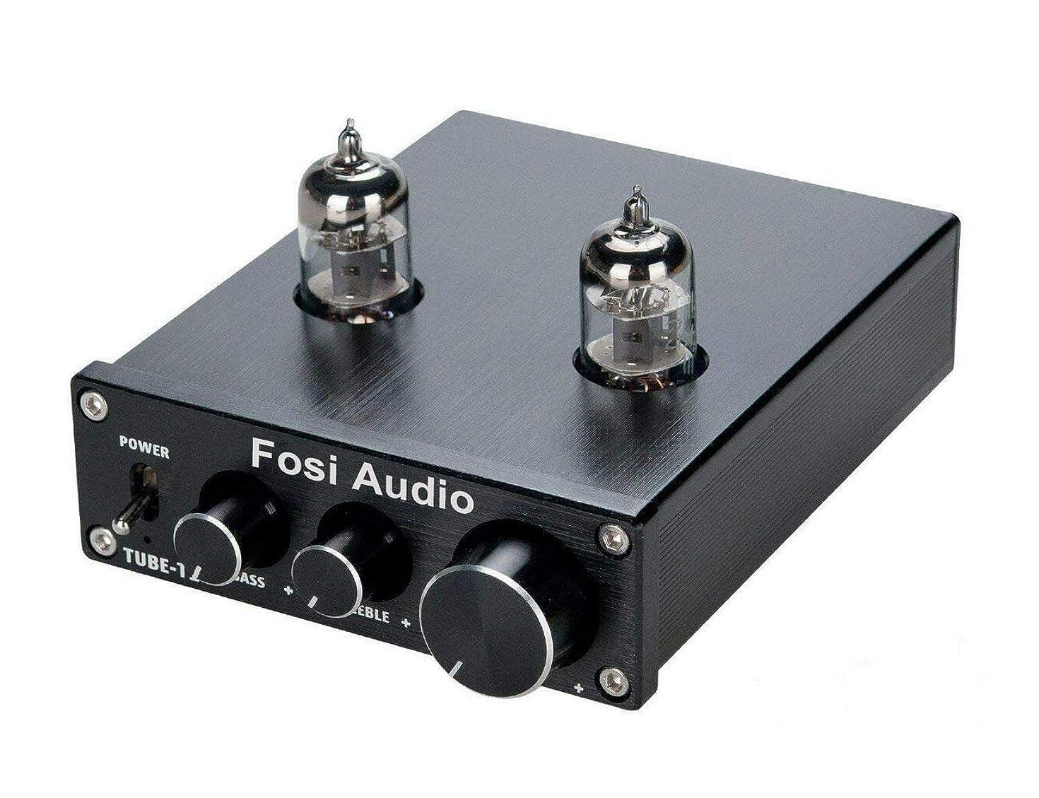 Fosi Audio P1 Tube Pre-Amplifier Mini Hi-Fi Stereo Buffer Preamp 6J1 Valve & Vacuum Pre-amp with Treble & Bass Tone Control for Home Theater System
