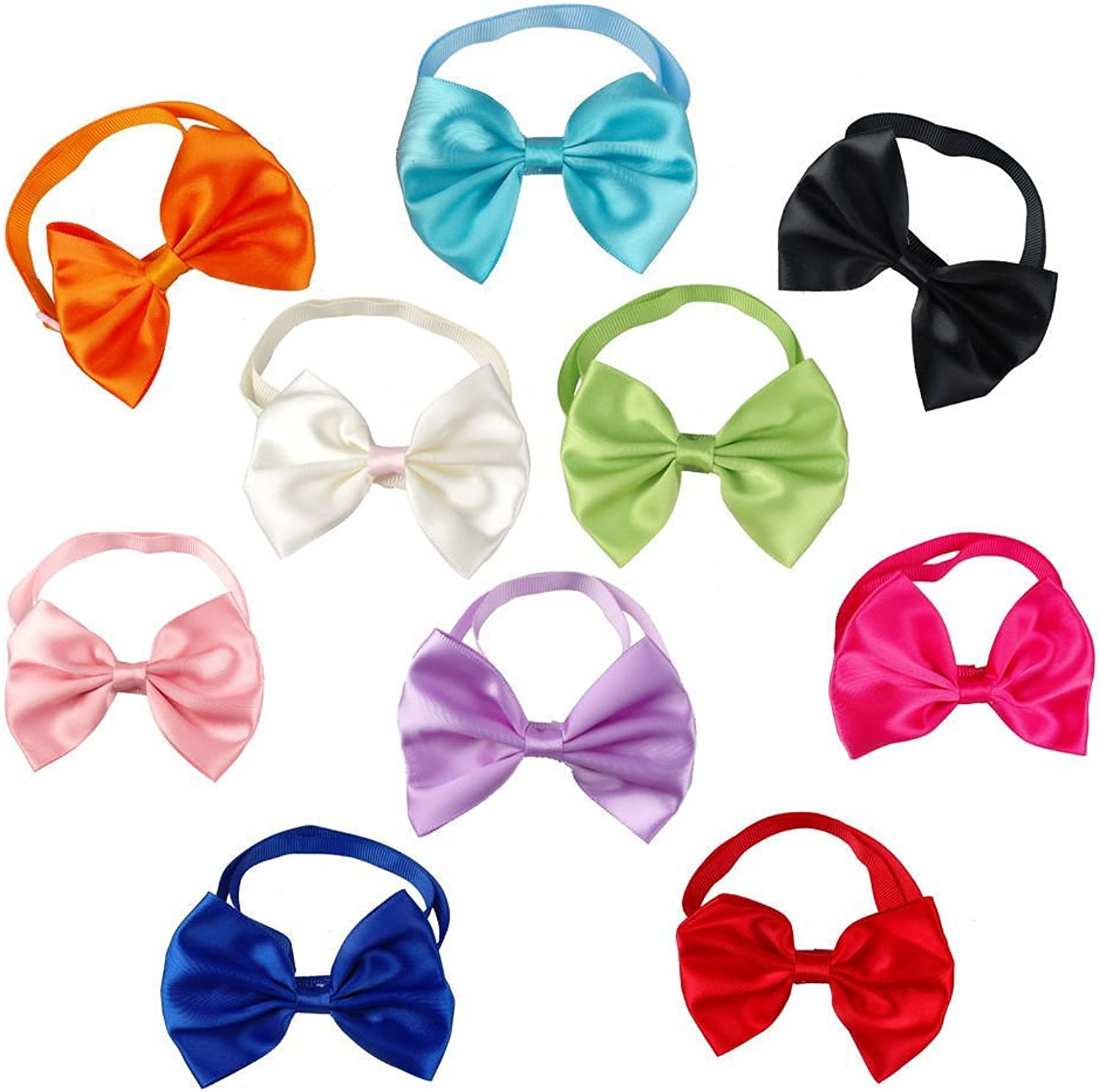 PET SHOW Pet Cat Dog Neck Bow Ties Collar Bowties Plain Wedding Grooming Accessories color Assorted Pack of 50