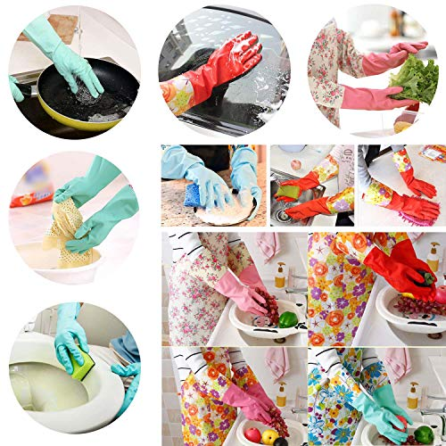 Product Image 6: Household Rubber Cleaning Dishwashing Latex Gloves Cotton Lining Warm Non-slip Kitchen Gloves (3-Pairs),Free get Cleaning Cloth (1-Pack) 3 P Lined