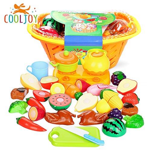 COOLJOY 21pcs de Juguetes Cortar Frutas Verduras de Plástico ABS, Gas