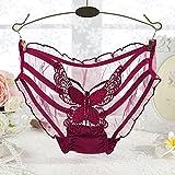 HEZHENGFENG Super Transparente Tul Gasa Perspectiva Femenina Sexy Bragas seducción Cintura Baja Briefs Bustiers,Vino Rojo Mariposa,código: