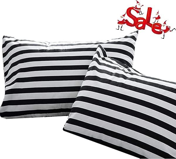 Wellboo Pillow Shams Black And White Pillowcases Stripes Bed Pillow Case Sets Cotton Standard Vertical Striped Pillow Protectors White Pillow Covers Queen Women Men Adults Envelope Closure 2 PCS
