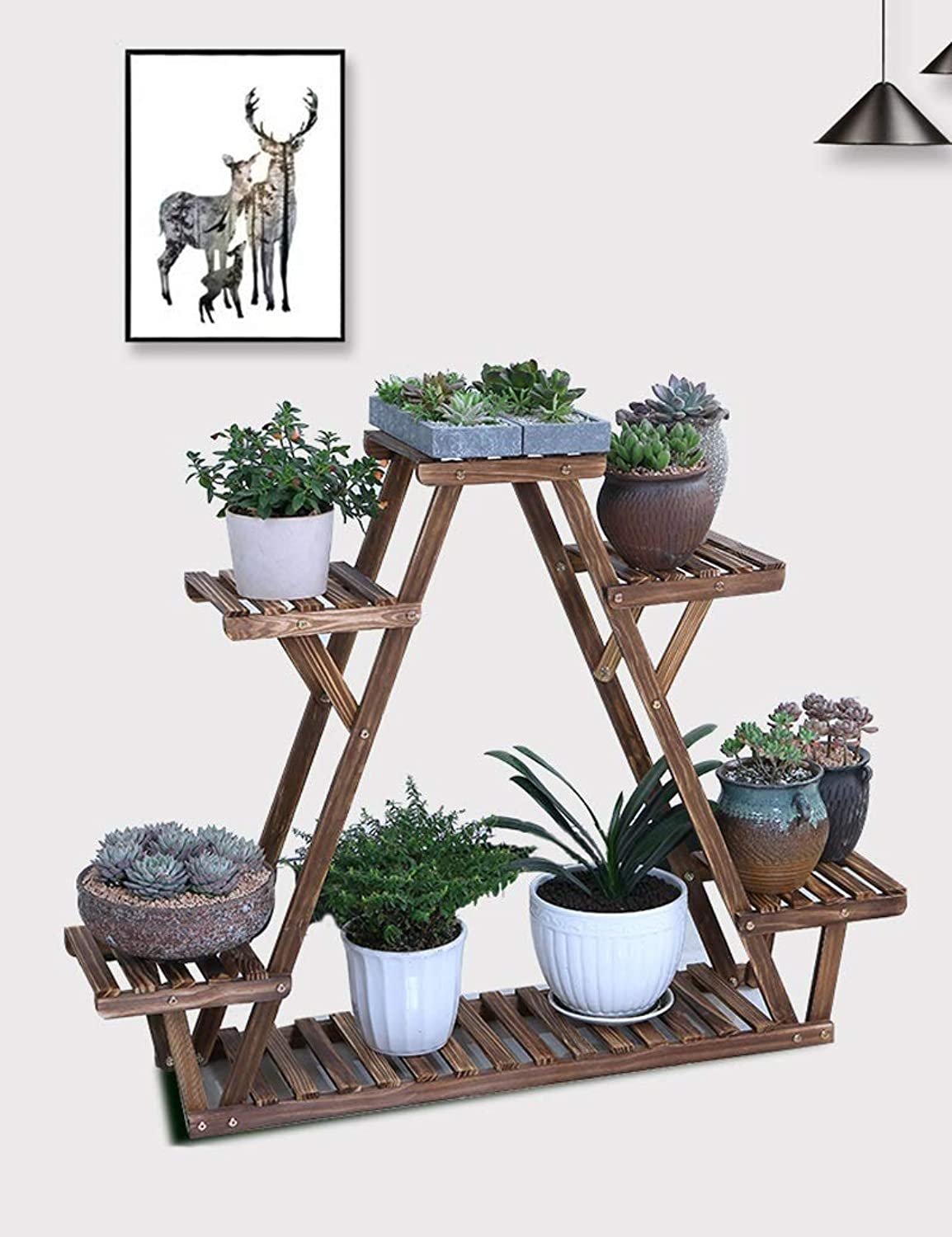 Flower Frame Solid Wood Multi-Storey Indoor Multi-Function Living Room Plant Potted Green Plant Balcony 6-Tier (Carbonized) (Size   113cmX20cmX85cm)