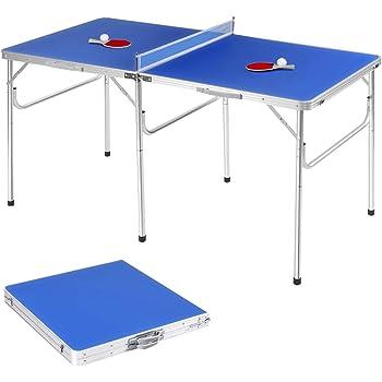 GOPLUS Tischtennisplatte klappbar, Tischtennistisch, Tischtennis Platte mit Netz, Zwei Schlägern und Bällen, klappbar und transportabel, 153 x 76 x 76