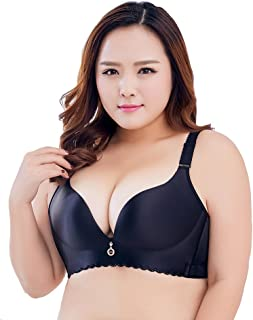 8365cabc4d3 Liangpin Women Bra Padded Push Up Bralette Plus Size Comfy Plunge Wide Band  34 36 38