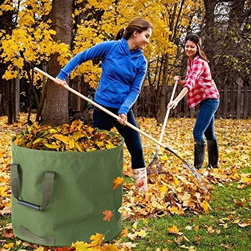 LJIANW Garden Waste Bags, 3 Packs Garden Reusable Bags With Handles 3 Gloves Ideal For Collecting Garden Waste Grass And Leaves, 125L (Color : 3PCS, Size : 22x18inch)