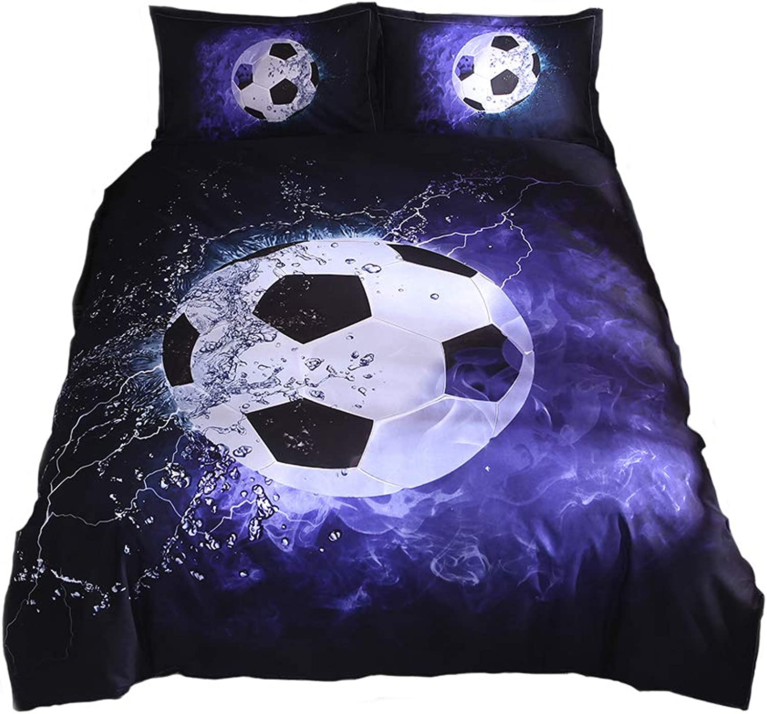 Lldaily 3D Sports Football Bedding Set for Teen Boys,Duvet Cover Sets with Pillowcases,Queen Size,3PCS,1 Duvet Cover+2 Pillow Shams,(No Comforter Quilt and Quvet)
