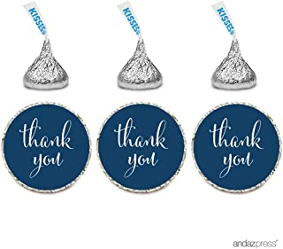 Andaz Press Chocolate Drop Labels Stickers, Thank You, Navy Blue, 216-Pack, For Wedding Birthday Party Baby Bridal Shower Hershey's Kisses Party Favors Decor Envelope Seals