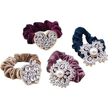 Women Hairband Ponytail Holder Elastic Hair Tie Band Rope Chic Flower Pearl LP