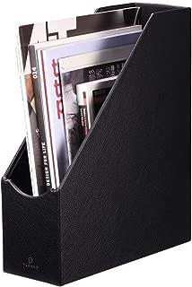 VPACK Magazine File Organizer Holder - Office PU Leather Desk Organizer Collection, Assorted Color (Onyx Black)