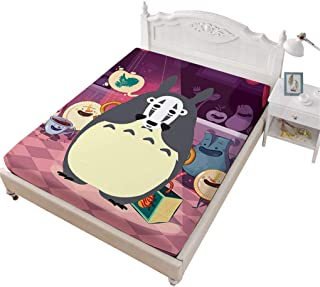 VITALE 1 Fitted Sheet Only,My Neighbor Totoro Cartoon Bedding Sheet Twin Size,Purple Spirited Away No Face Printed 1 Piece Deep Pocket Bedsheet Kids Bedding Decoratives
