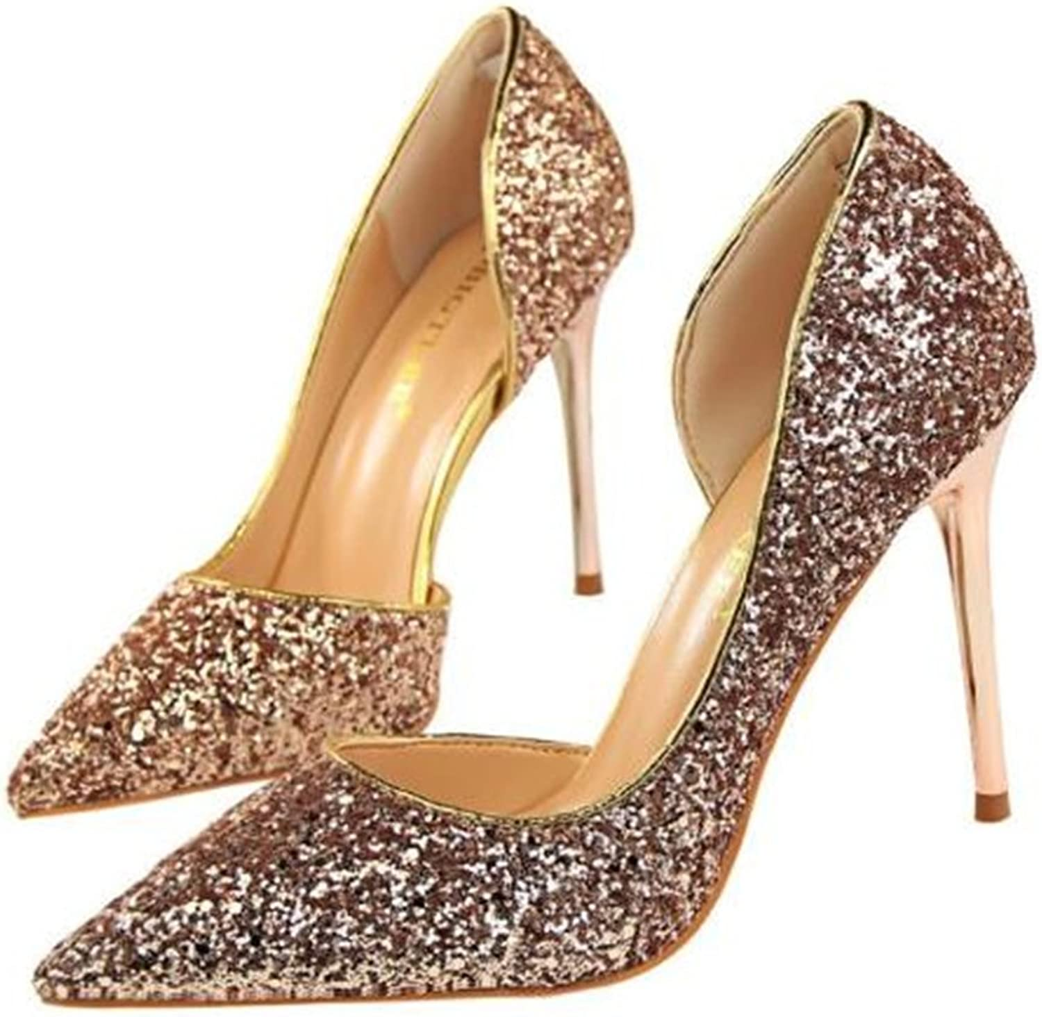 Gusha Glitter Sequins Shallow Heels Wedding shoes Pointed Toe Stiletto Heels