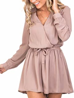 Sexyshine Womens Chiffon Loose Long Sleeve Deep V-Neck Romper Playsuit Jumpsuits