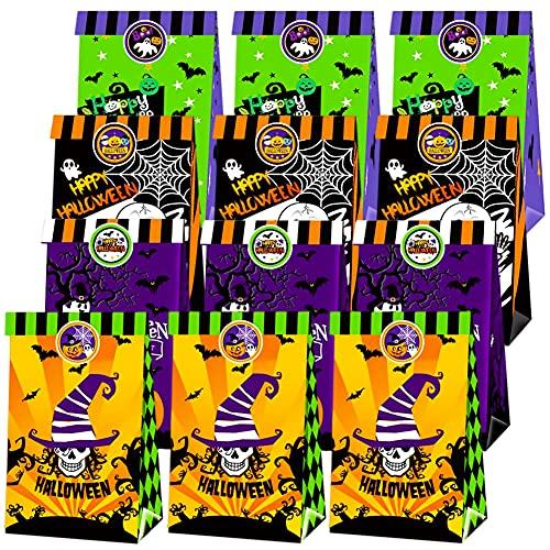 BESTZY Halloween Gift Bag, 12PCS Halloween Kraft Paper Packaging Bag, Portable Party Gift Bag, Foldable Halloween Party, Children's Birthday Party Gift Bag, Candy Bag, Cake Bag, Snack Bag