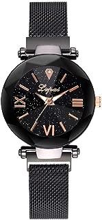 WEUIE Fashion Starry Sky Rhinestone Analogue Quartz Watches with Mesh Band Diamond Cutting Sandstone Dial Lady Watch