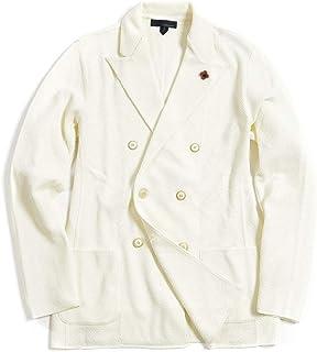 [ラルディーニ] ニットジャケット 6Bダブル ピークドラペル メンズ 春夏 コットン 100% 無地 ホワイト 白 イタリア ブランド カジュアル ブートニエール付き