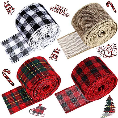 4 Rolls Wired Edge Ribbons 2 Inches Christmas Plaid Ribbon and Burlap Craft Ribbon for DIY Wrapping, Wedding Crafts Decoration (Red-Black, Green-Red, Black-White, Beige)