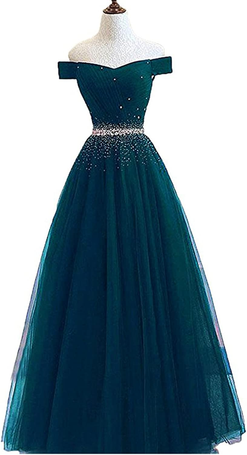 Alilith.Z Sexy Off The Shoulder A Line Prom Dresses Crystal Beaded Long Formal Evening Dresses Party Gowns for Women