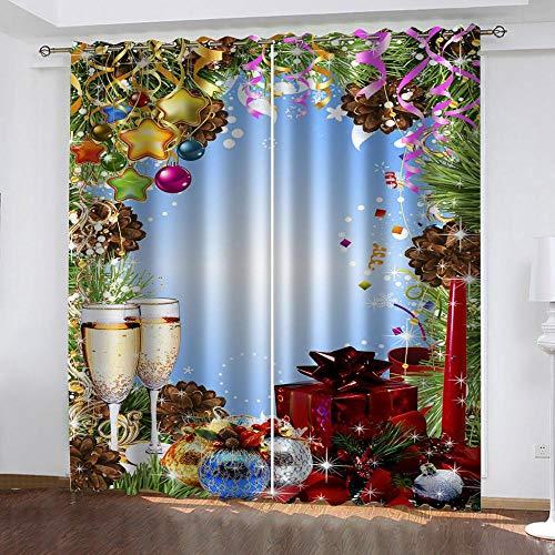 ZZDXL Cortinas Habitacion Copa De Vino Cortinas Dormitorio Moderno Térmico Anti Ruido Salon Cortina Opacas CortinasOpacas con Ojales 2X140X250cm