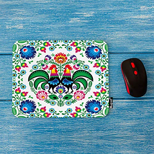 Mugod Poland Flowers Mouse Pad Polish Floral Folk Art Square Pattern with Rooster Decor Gaming Mouse Pad Rectangle Non-Slip Rubber Mousepad for Computers Laptop 7.9x9.5 Inches