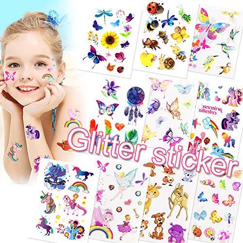 Sunshine smile Tattoo Kinder,Glitzer Temporäre Tattoos Für Kinder,Cartoon Schmetterling Tiereinhorn Tattoos Set,Kinder Tattoo Mädchen&Jungen Festival Party Geschenk Mitgebsel Dekoration (10ps)