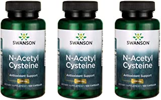 Swanson NAC N-Acetyl Cysteine Antioxidant Anti-Aging Liver Support & Amino Acids Supplement 600 mg 100 Capsules (3 Pack)