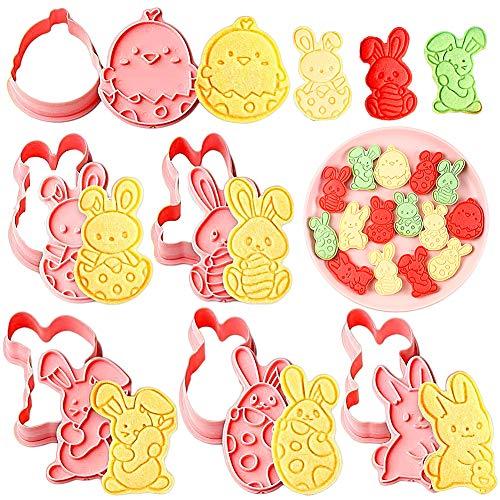 FANDE 6 PCS Moldes De Pastel De Huevo De Conejito De Pascua, Moldes para Galletas con expulsor, moldes 3D para chocolate, Cortadores De Galletas De Dibujos Animados