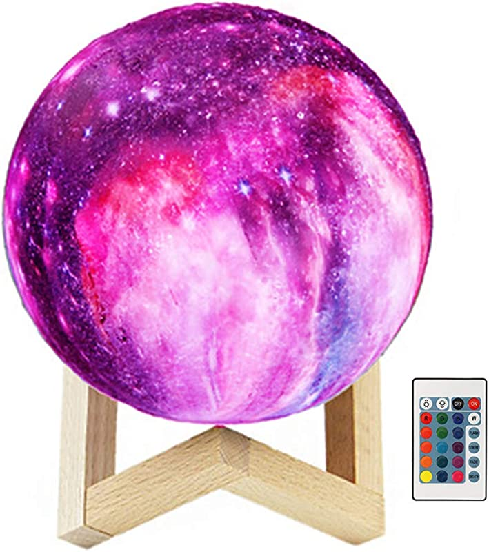 Starry Moon Lamp With Stand 16 Colors 6 Inch 3D Lunar Moon Globe Night Light Remote Control Rechargeable Bedroom Nursery Decor For Kids Baby
