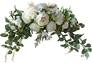 Wedding Arch Flowers, 30 Inch Rustic Artificial Floral Swag for Lintel, Green Leaves Rose Peony Sunflowers Door Wreath Hom...