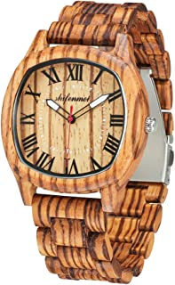 Wooden Watches for Men, shifenmei S5524 Natural Handmade Analog Quartz Wooden Watches Japanese Movement and Battery Adjustable Wood Strap Lightweight Wrist Wood Watch with Gift Box
