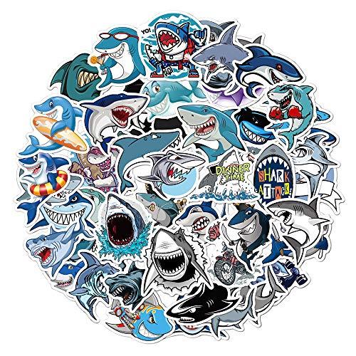Product Image 1: Ratgoo 50Pcs Cute Cartoon Trendy Graffiti Waterproof Vinyl Shark Stickers Decals Pack for Laptop Water Bottle Car Bumper Skateboard Luggage iPhone Laptop Bike Guitar Gift for Girls Kids Teens Boys