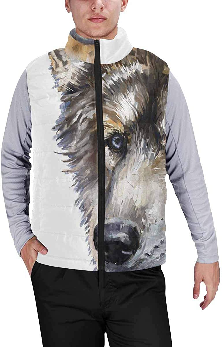 InterestPrint Men's Soft Stand Collar Jacket for Fishing Hiking Cycling Giraffe in Savannah