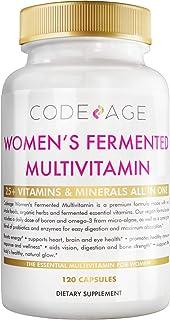 Women's Daily Multivitamin, 25+ Vitamins & Minerals, Fermented, Organic Whole Foods,Probiotics Supplement - Vitamin A, Vitamin B, Vitamins C, D, E & K, Omega 3, Zinc – Natural& Vegan - 120 Capsules