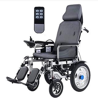 NOLLY Silla Eléctrica De Movilidad Plegable Portátil,con Control Remoto Respaldo Ajustable Y Pedal para Discapacitados, Minusválidos, Ancianos, Ortopedica, para Mayores