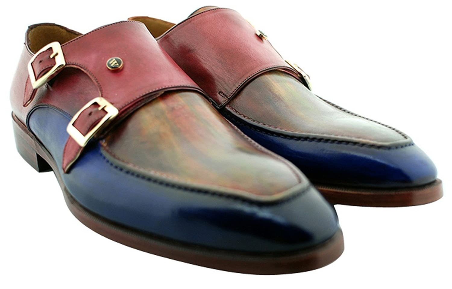 [Oscar William] Blue/Red Rosemoor Avenue Men's Luxury Classic Leather Shoes