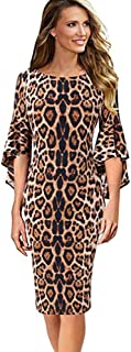 Sinfu Womens Leopard Print Elegant Bell Sleeve Work Party Cocktail Sheath Dress