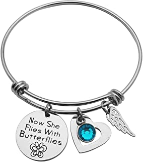 Eilygen Sympathy Gift Now She Flies with Butterflies Bracelet Bangle Loss of Loved One Gift Memorial Jewelry