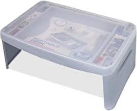 Joyo Multi-Utility Compact Foldable Table (Mushroom, Ivory & Silver Color)