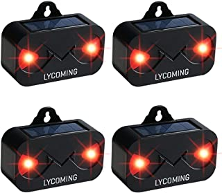 Lycoming Predator Light Pack of 4 Deer Repellent Devices for Nighttime Animals Solar Predator Control Light Coyote Deterrent Devices with Red LED Strobe Lights Skunk Raccoon Repellent for Garden