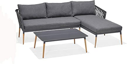 Silas Outdoor Charcoal Rope Chaise Lounge Setting with Coffee Table - Outdoor Lounges, Outdoor Furniture - Bay Gallery Fur...