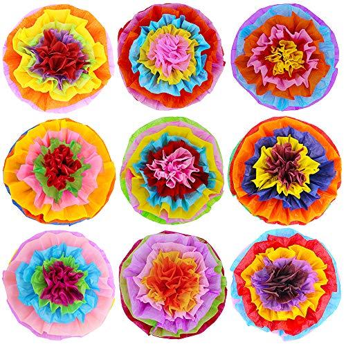 "Supla 9 Pcs Fiesta Paper Flowers Pom Poms Flowers Tissue Pom Poms 15.4"" Wide for Mexican Rainbow Theme Party Fiesta Cinco De Mayo Party"